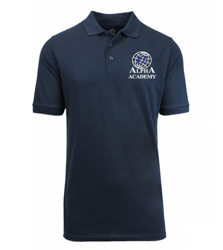 Adult- Navy Alpha Polo - Short Sleeve
