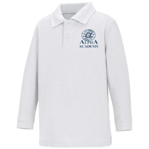 Adult -Navy White Polo - Long Sleeve