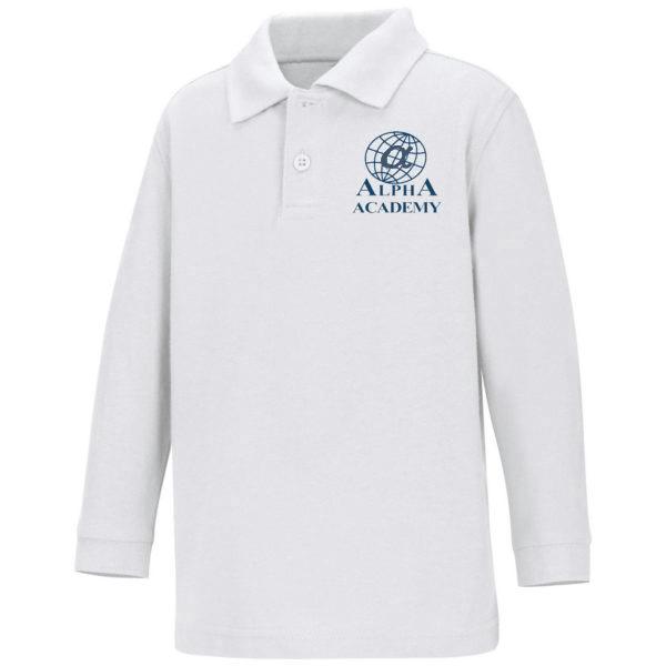 Children's -Navy White Polo - Long Sleeve